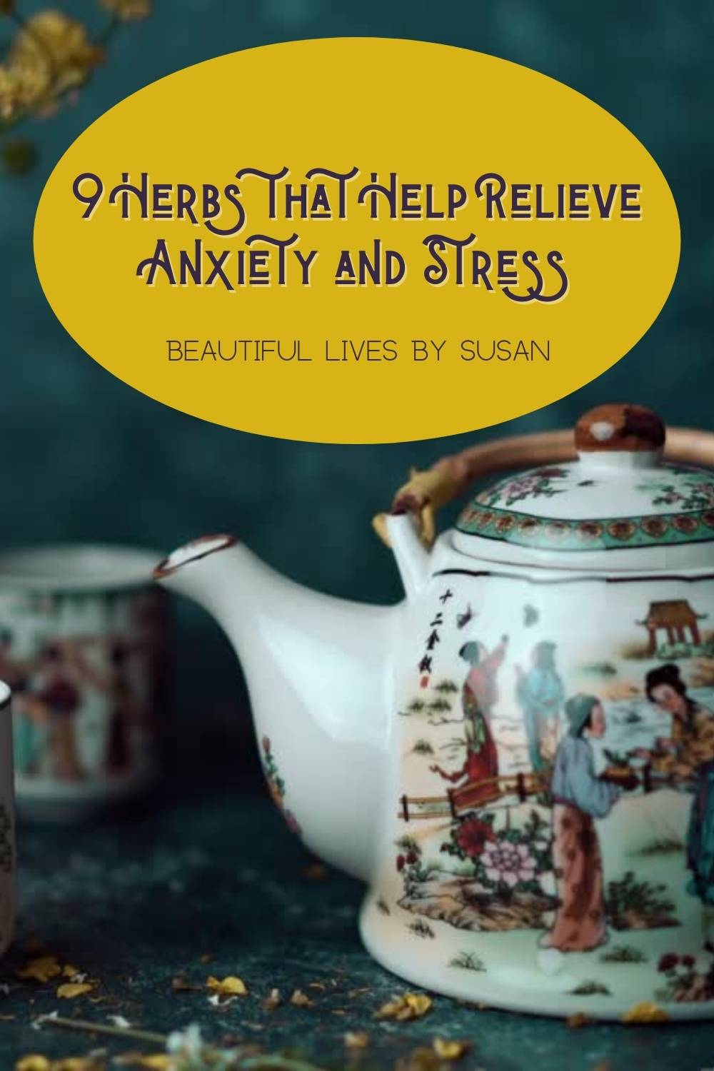 9 Herbs that Help Relieve Anxiety and Stress Asian china teapot and cups with chamomile flowers being added to the pot.
