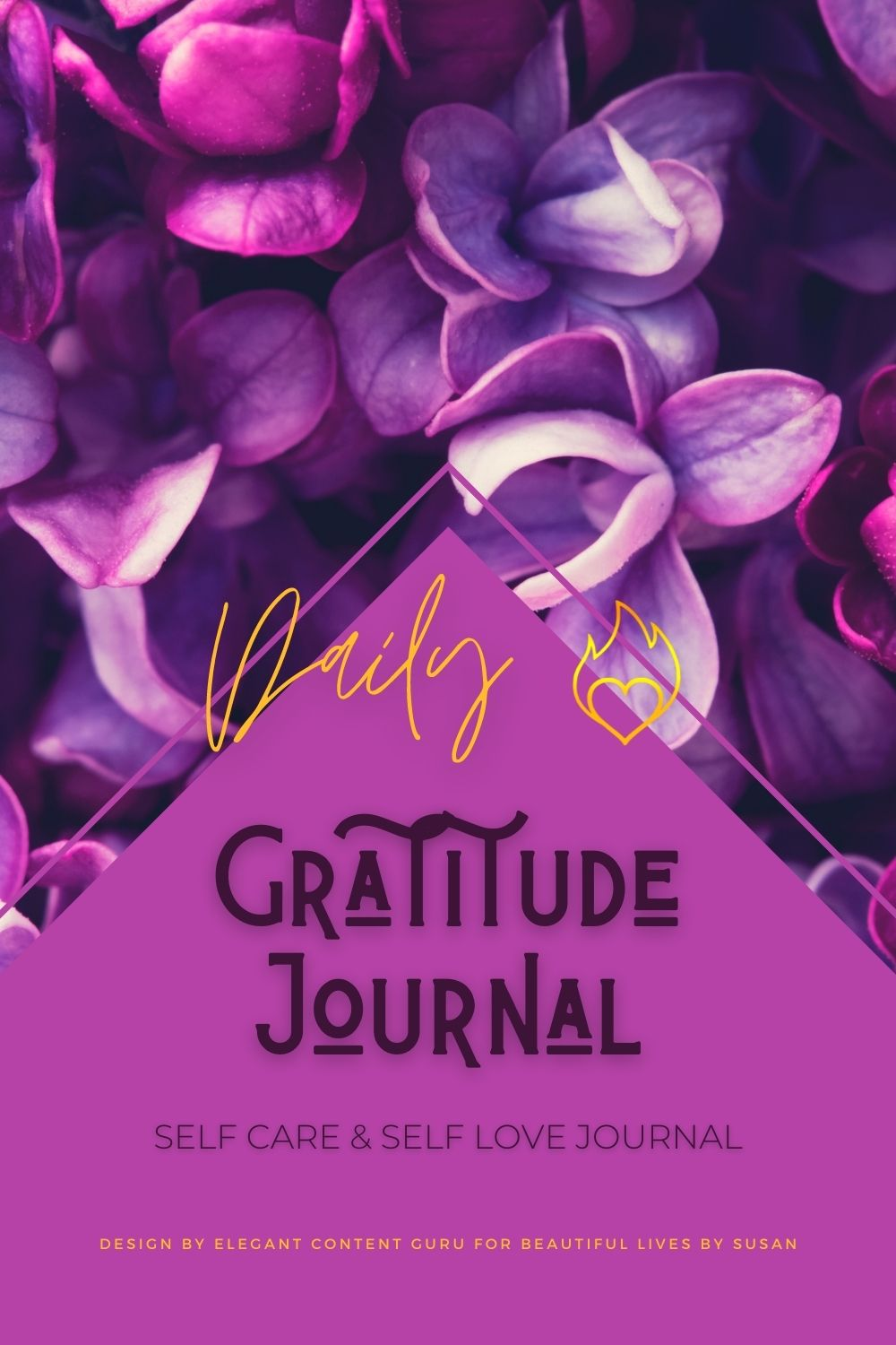 Daily Gratitude Journal with purple to pink flowers in background.