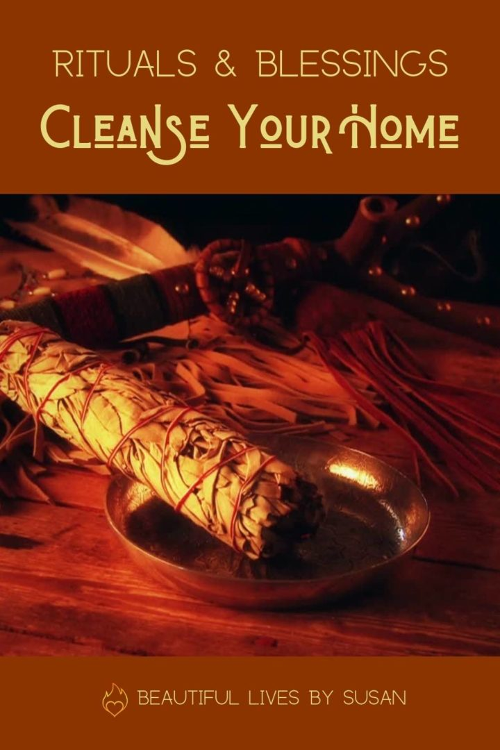 Ritual and Blessings Cleanse Your Home - Sage stick burning in brass shallow bowl.
